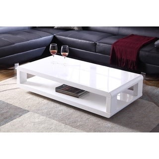 Coaster company modern white end table free shipping for Furniture of america inomata geometric high gloss coffee table