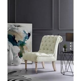 Inspired Home Loretta Velvet Armless Slipper Accent Chair Front Caster