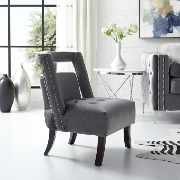 Inspired Home Hockney Accent Slipper Chair Velvet Tufted Armless
