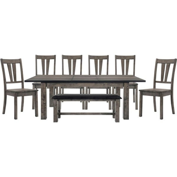Cambridge Drexel Dining 8-Piece Set - Table, Six Wooden Chairs and Bench