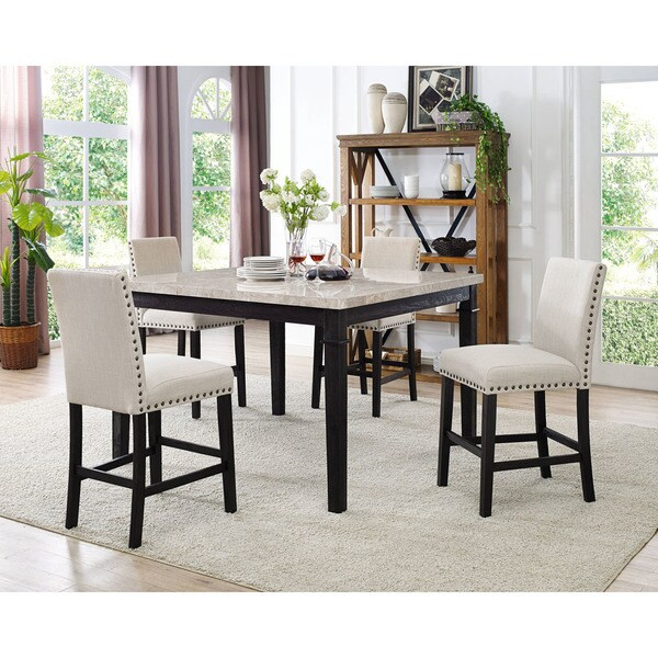 Bon Cambridge Azul 5 Piece Dining Set : Marble Table And Four Fabric Chairs