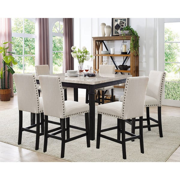 High Dining Room Table And Chairs: Shop Cambridge Azul 7-Piece Dining Set: Marble Table And