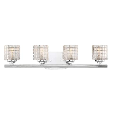 4-Light Polished Nickel Bath Light with Clear Glass