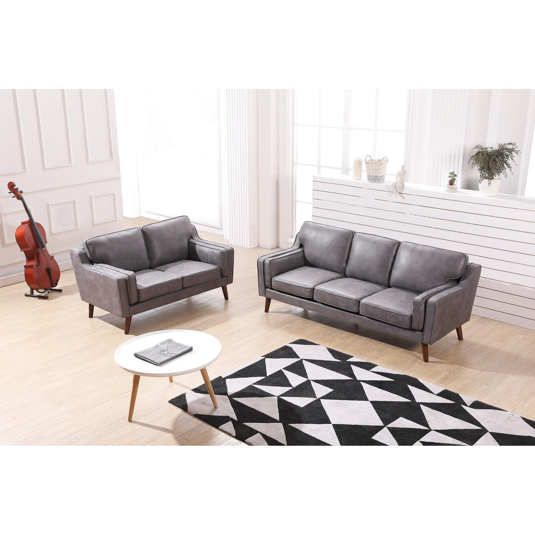 Details about Sofia Mid-Century Air Leather Fabric Sofa Set
