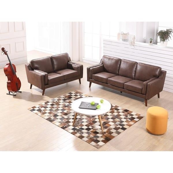 Sofia Mid-Century Air Leather Fabric Sofa Set