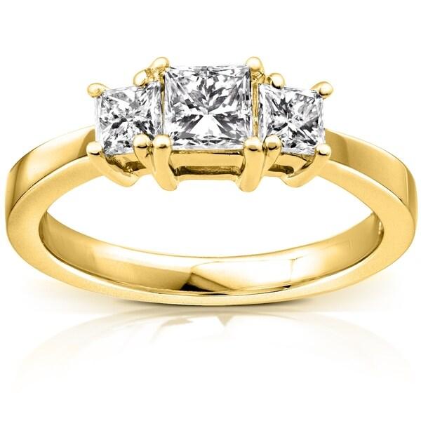 Annello by Kobelli 14k Gold 1ct TDW 3 Stone Princess Diamond Engagement Ring