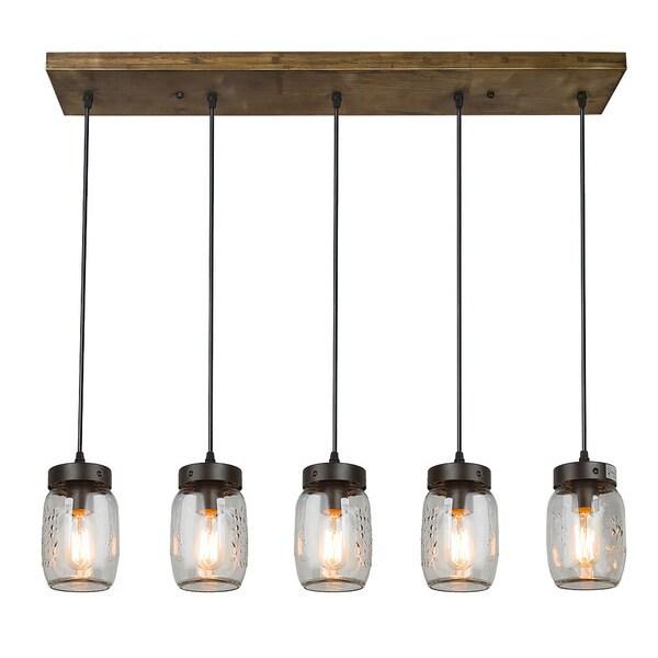 Shop LNC Wood Pendant Lighting 5-light Glass Jar Ceiling