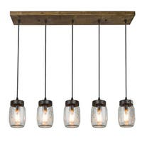 LNC Wood Pendant Lighting 5-light Glass Jar Ceiling Lights Linear Chandelier Lighting