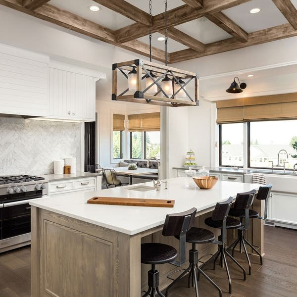 Shop Lnc Rustic Chandelier 4 Light Linear Kitchen Island