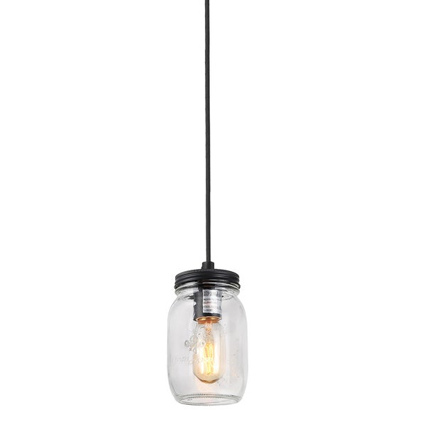 LNC 1 Light Pendant Lights Clear Glass Jar Pendant Lighting