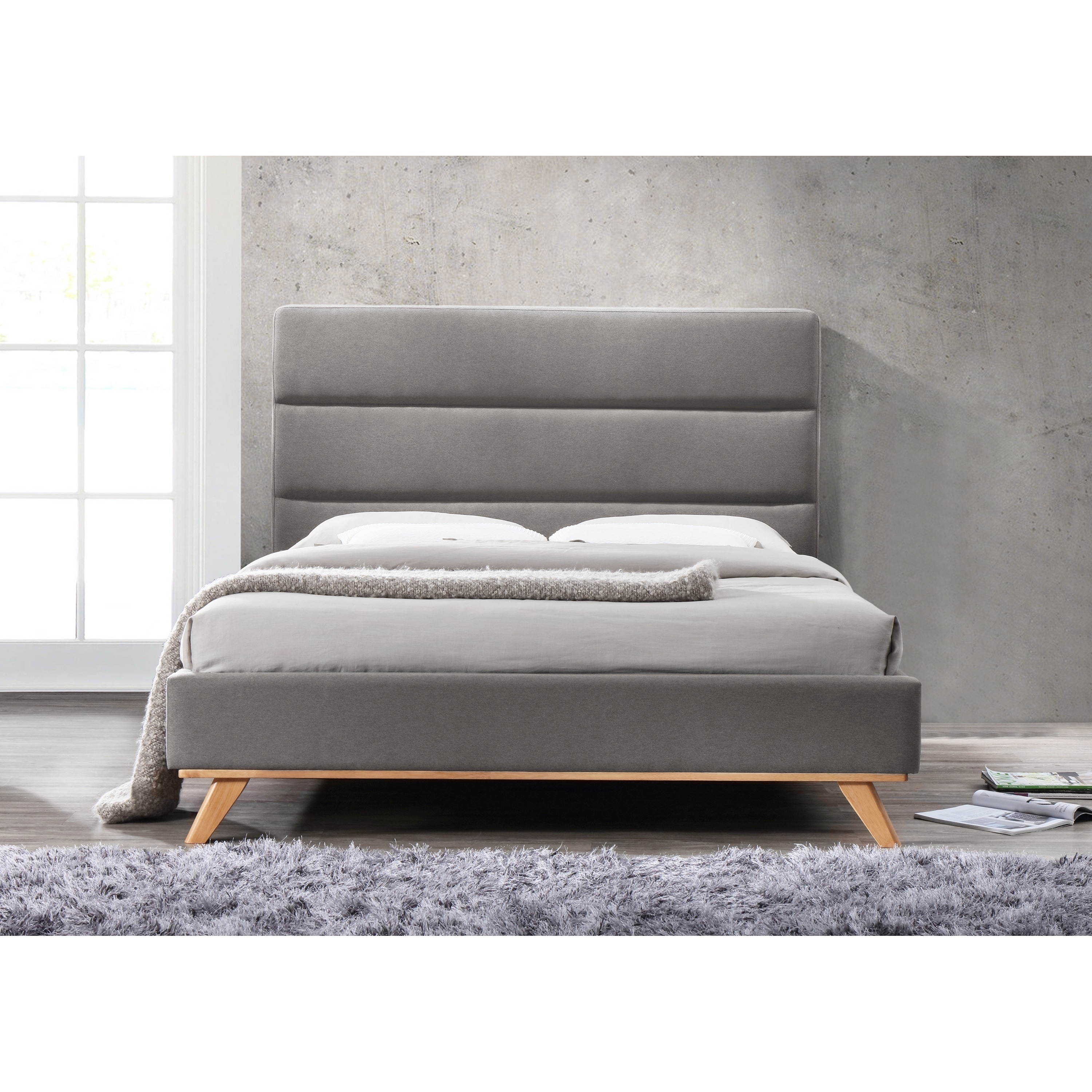 Omax Decor Kennedy Upholstered Platform Bed Queen - Free Shipping On ...