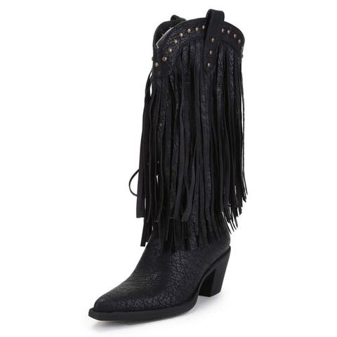 Ann Creek Womens Alley Fringed Stud Boots