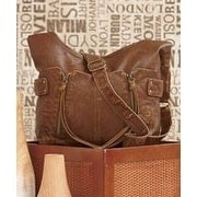 Lauren and Company Double Front Zip Leatherette Cross Body Bag - brown