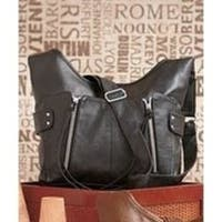 Lauren and Company Double Front Zip Leatherette Cross Body Bag