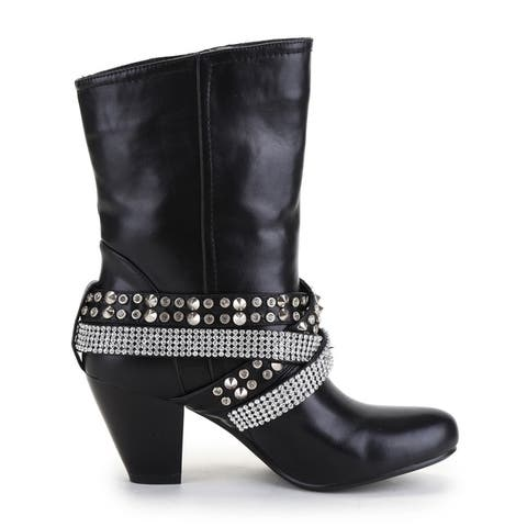 Ann Creek Women's 'Lucea' Stud and Rhinestone Strappy Boots