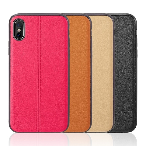 Iphone X Leather Jacket Tpu W/ Pu Leather Back Cover Case