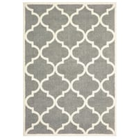 Scallop Lattice Grey/ Ivory Micro Fiber Rug (2' 0 X  3' 0) - 2' X 3'
