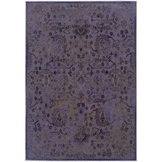 """Over-dyed Distressed Traditional Purple/ Beige Area Rug (1'10X3'3) - 1'10"""" x 3'3"""""""