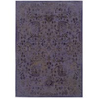 Over-dyed Distressed Traditional Purple/ Beige Area Rug (1'10X3'3)