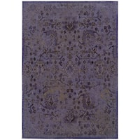 Over-dyed Distressed Traditional Purple/ Beige Area Rug (1'10X3'3) - 2' x 3'