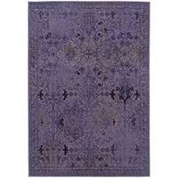 Over-dyed Distressed Traditional Purple/ Grey Area Rug (1'10X3'3)