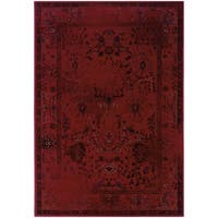 Over-dyed Distressed Traditional Red/ Grey Area Rug (1'10X3'3)