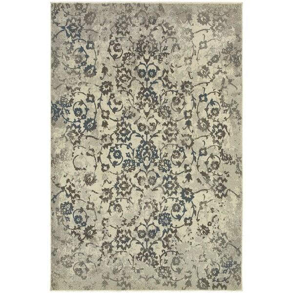 Faded Floral Beige/ Grey Rug (1'10X3')