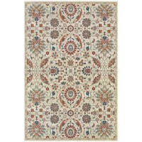 Updated Traditional Floral Beige/ Multi Rug - 1'10X3'