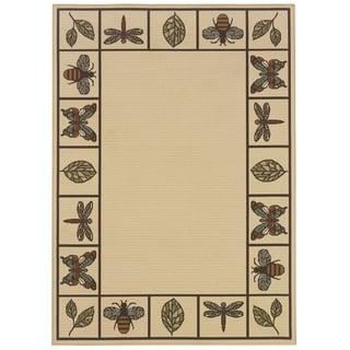 """Botanical Ivory/Brown Indoor-Outdoor Area Rug (1'9X3'9) - 1'9"""" x 3'9"""""""