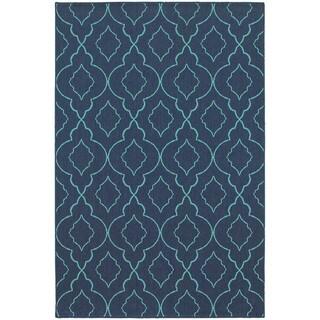 Lattice Navy/Blue Indoor-Outdoor Area Rug (1'10X2'10)