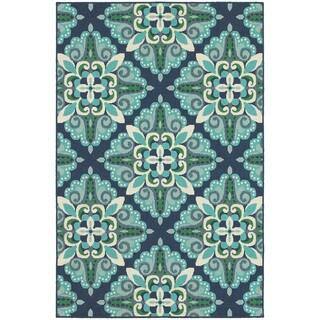 Medallion Blue/Green Indoor-Outdoor Area Rug (1'10X2'10)