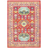 Old World Inspired Red/ Multi Indoor/Outdoor Rug - 1'10 X 3'
