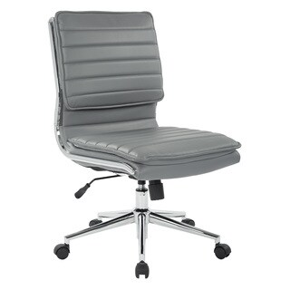 Armless Mid Back Professional Managers Faux Leather Chair with Chrome Base