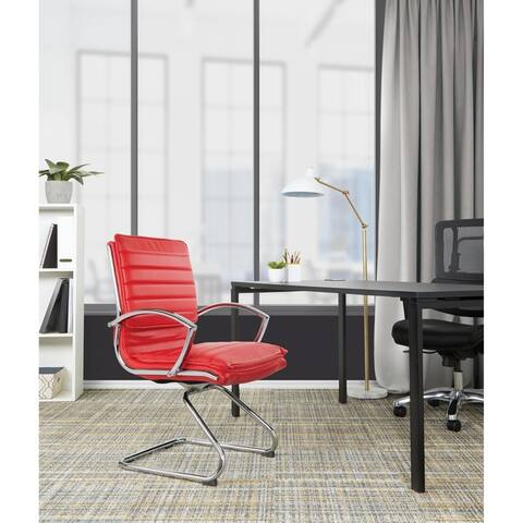 Guest Professional Faux Leather Chair with Chrome Sled Base and Removable Sleeves