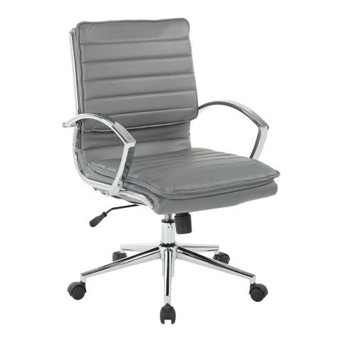 Mid Back Professional Managers Faux Leather Chair with Chrome Base and Removable Sleeves