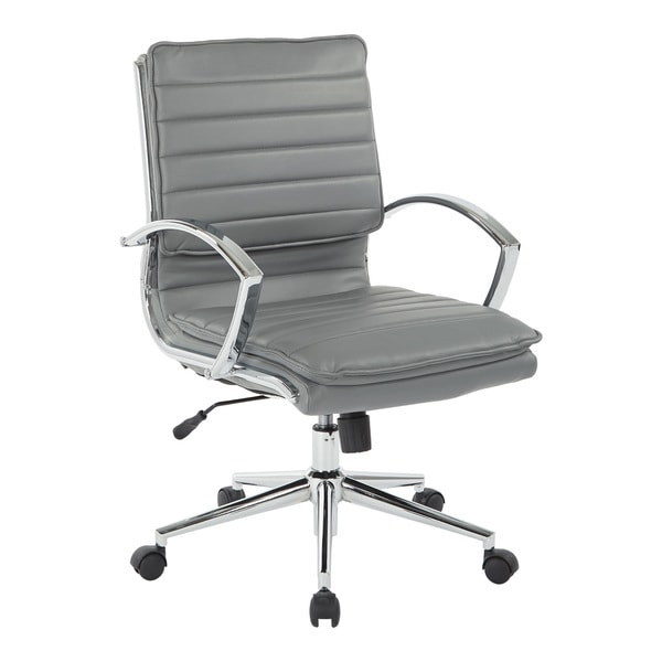 Mid Back Professional Managers Faux Leather Chair with Chrome Base and Removable Sleeves. Opens flyout.