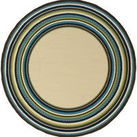 Carson Carrington Tumba Border Indoor-Outdoor Ivory/Blue Rug - 7'10 Round
