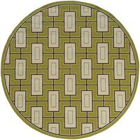 Carson Carrington Roskilde Block-work Indoor-Outdoor Green/Ivory Rug - 8'