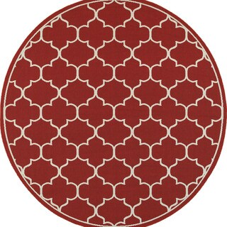 Scalloped Lattice Red/ Ivory Indoor Outdoor Rug - 8'