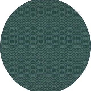 Simple Geometric Navy/ Green Indoor Outdoor Rug - 8'