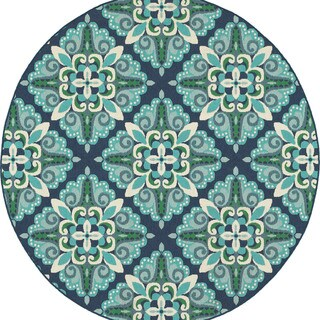 Floral Lattice Blue/ Green Indoor Outdoor Rug (7'10 Round)