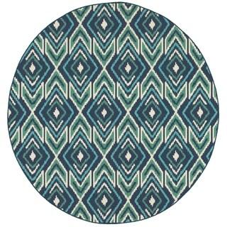 Ikat Diamonds Navy/ Green Indoor Outdoor Rug (7'10 Round)