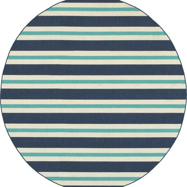 Multi Striped Blue Ivory Indoor Outdoor Rug 7 X27 10 Round