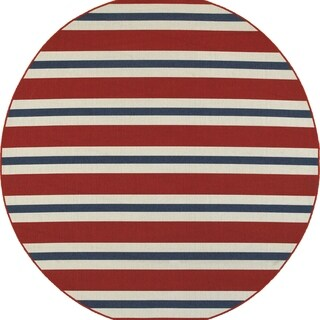 Americana Striped Red/ Blue Indoor Outdoor Rug - 7'10 Round