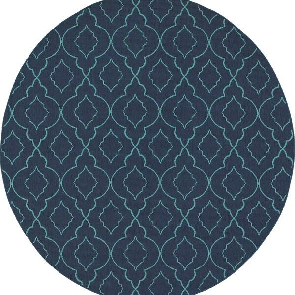 Scalloped Lattice Navy Blue Indoor Outdoor Rug 7 X27 10 Round