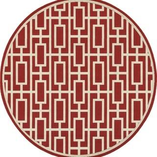 Geometric Lattice Red/ Ivory Indoor Outdoor Rug (7'10 Round)