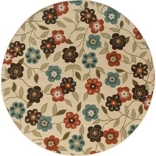Floral Ivory/Brown Indoor-Outdoor Area Rug (7'10 Round)