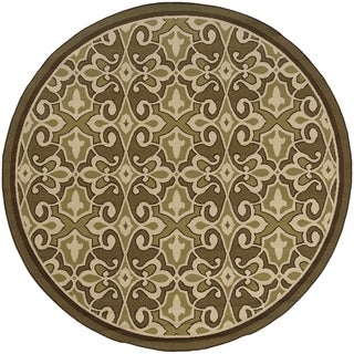 Style Haven Traditional Green/Ivory Indoor/Outdoor Area Rug - 7'10 Round
