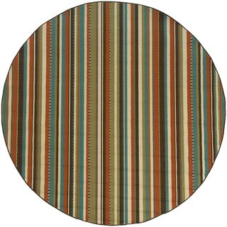 Style Haven Stripes Green/Blue Outdoor Area Rug (7'10 x 7'10) - 8'
