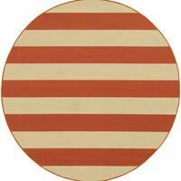 """Indoor/ Outdoor Stripe Rug (7'10X7'10) - 7'10"""" x 7'10"""" rnd"""